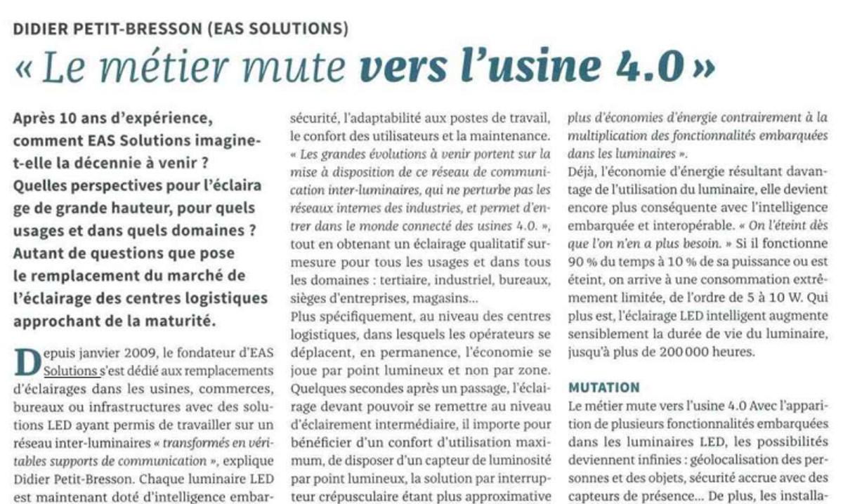 EAS Solutions Eclairage Led Professionnel Bordeaux Article LUX Janvier Fevrier 2019 Lusine 4.0 285